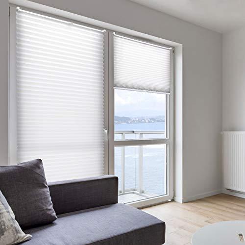 KINLO 80x130cm Weiß Jalousien Plisse Rollo Sonnenschutzrollo für fenster Tür ohne bohren Klemmfix Blickdicht Vorhänge mit Klemmträger