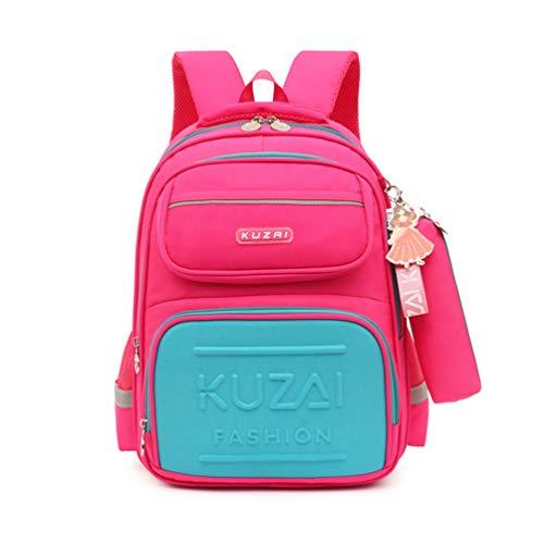MCUILEE Mochila escolar para alumno y niña, con diseño de rayas reflectantes en las correas + estuche