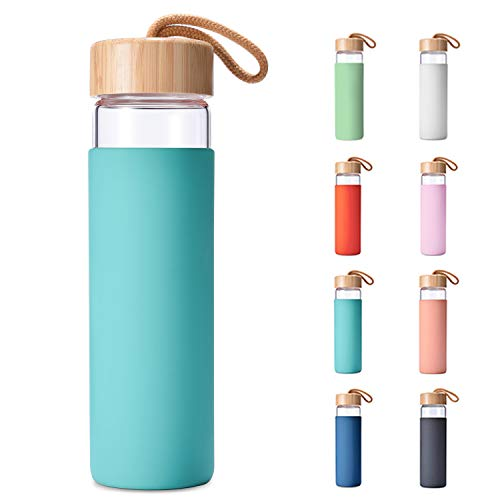 Yomious 20 Oz Borosilicate Glass Water Bottle with Bamboo Lid and Silicone Sleeve – BPA Free