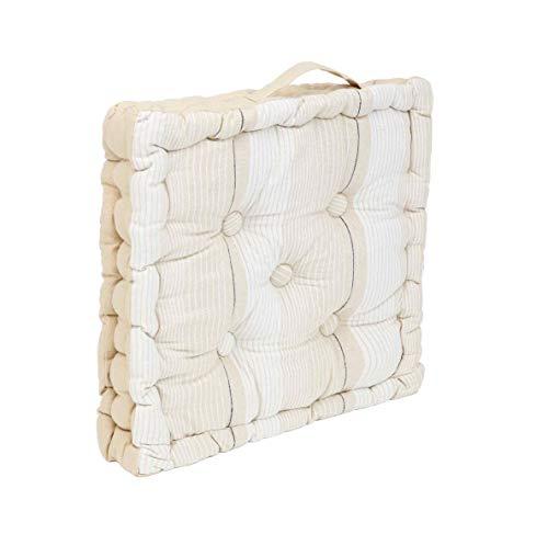 Thesecrethome.es | Cojín de Suelo Rayas | Cojines Acolchados para Silla de 40 x 40 cm para Interior y Exterior con asa | 100 % algodón | Decoración hogar Ideal para jardín o terraza (Beige-Blanco)