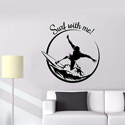 mlpnko Pegatinas de Pared Conmigo Surf Calcomanía de Vinilo Garaje Surfer Surf Wave Decoración Dormitorio Adolescente 85X88cm