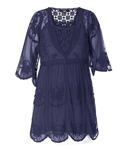 X-Two Yesta Damen Tunika aus Baumwolle Blau transparent mit Unter-Top Häkel-Spitze mit Trompeten-Ärmel große Größen, Größe:46