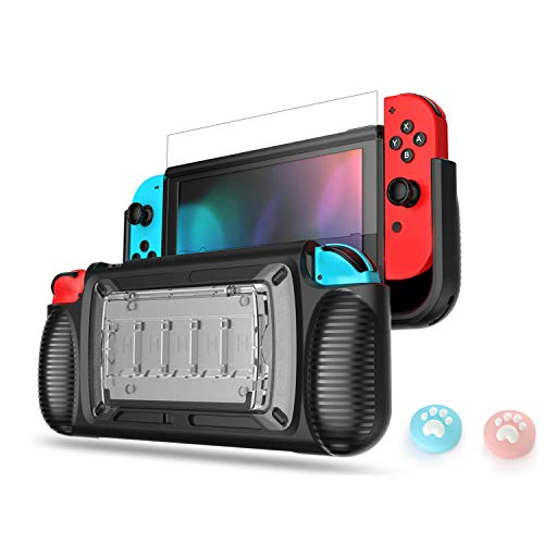 LeyuSmart Grip Case for Nintendo Switch, Protective Cover & Tempered Glass Screen Protector & Thumb Caps, Ergonomic Design Comfortable Handheld Protector (Clear)