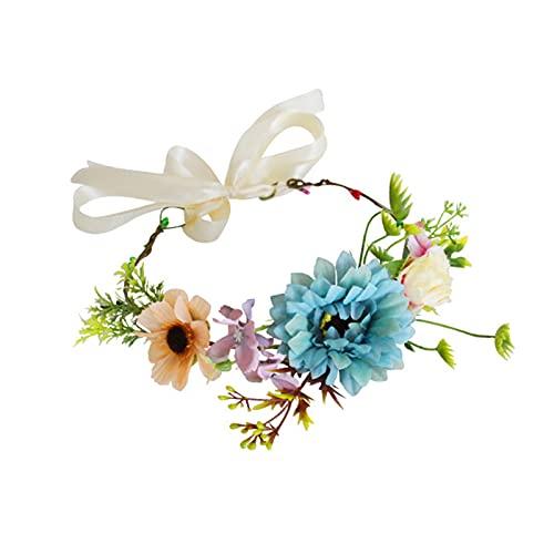Washranp Corona De Flores Llamativa Realista Mirando De Seda De Imitación Flor De Novia Corona De La Decoración Para El Hogar - Azul