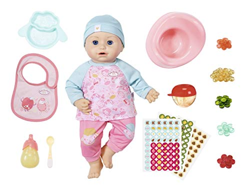 Baby Annabell Fütterspaß Puppe mit Kleidung und Zubehör und lebensechten Funktionen, weinen, trinken, Pipi machen, Schlafen und mehr, 43 cm, Geschenkbox