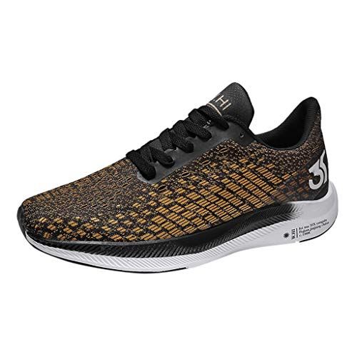 SHOBDW Homme Femme Air Baskets Chaussures Gym Fitness Sport Sneakers Style Running Multicolore Respirante Outdoor Casual Baskets (Or,44)