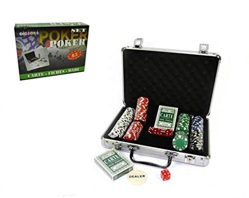 Fair Valigetta Set Texas Holde'm Poker Gioco Professionale 200 Fiches Carte Dadi
