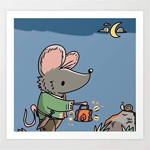 Afabel DIY-Ratón de Dibujos Animados Pintura al óleo por números para Adultos Pintura de Bricolaje sobre Lienzo para niños, Adultos Principiantes 45x45cm - sin Marco