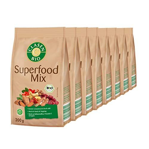 8x CLASEN BIO Superfood Mix , Nuss-Frucht-Mischung - 200 g