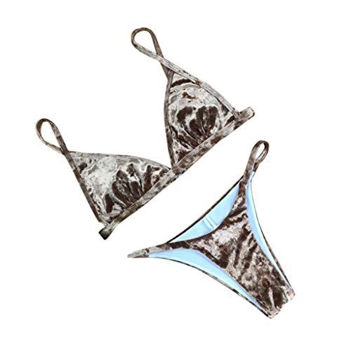 Bfmyxgs Sommermode Frauen Stilvolle Zweiteiler Bademode Mode Solid Velvet Bikini Charming Badeanzug Beachwear Set Sexy Monokini Sets Tankini Sets Bademode Beachwear Badeanzug Bikini