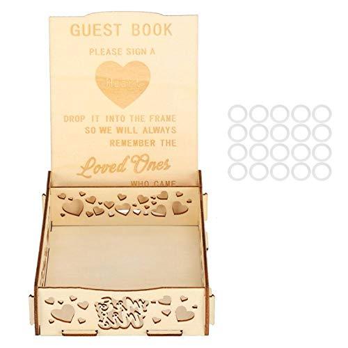 Hochzeitsgästebuch aus Holz mit Herzmuster, Gästebuch für Babyparty, Geburtstag, Abschlussfeier,...