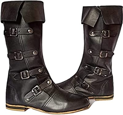 Medieval Leather Boots RENAISSANCE | Viking Pirate Boots Mans Black Long Shoes| Medieval leather boots (numeric_12) from