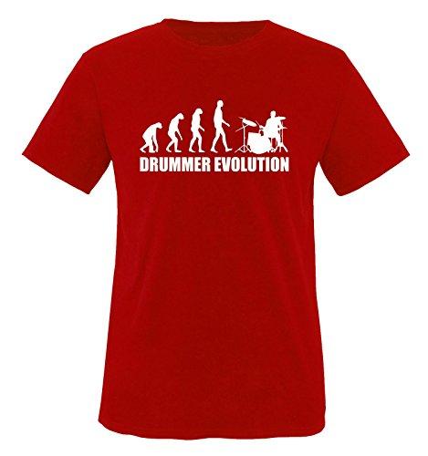 Comedy Shirts Drummer Evolution – T-Shirt pour Enfant Taille 86–92 jusqu'à 152–164 Versch. Couleurs - Rouge -