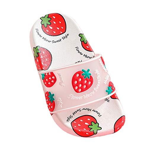 Nasogetch Kinder Sommer Hausschuhe Jungen Mädchen Pantoletten Badeschlappen Badeschuhe mit Obst Leicht rutschfest, Erdbeere 240