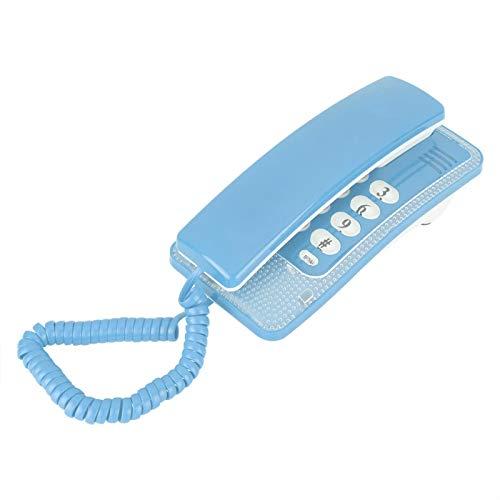 cigemay Teléfono Fijo para Empresas, Teléfono con Cable con Botones Grandes, Teléfono Fijo Sobremesa/Pared para Oficina en Casa Soporte para Hotel Función Flash Función Silencio(Azul)