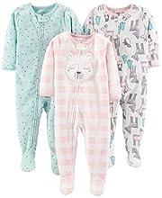 Simple Joys by Carter's pijama de forro polar suelto para bebés y niñas pequeñas, paquete de 3 ,Pink Deer/Blue Snowflakes/Pink Check ,18 Meses