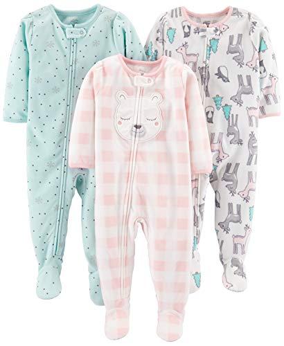 Simple Joys by Carter's pijama de forro polar suelto para bebés y niñas pequeñas, paquete de 3 ,Pink Deer/Blue Snowflakes/Pink Check ,12 Meses