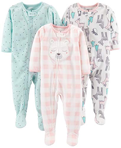 Simple Joys by Carter's Girls' Toddler 3-Pack Loose Fit Flame Resistant Fleece Footed Pajamas, Pink Deer/Blue Snowflakes/Pink Check, 3T