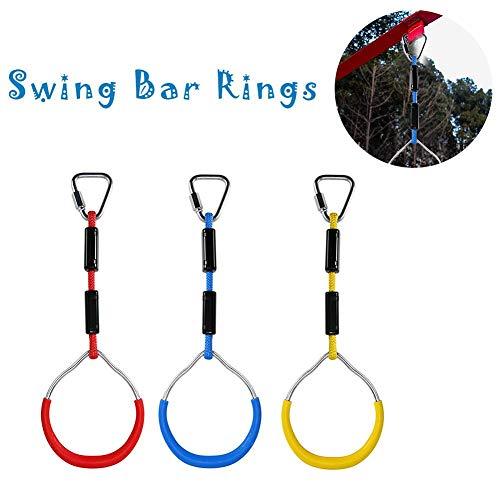 Easy-topbuy 3 Stück Lenkerringe Swing Bar Rings Bunte Schaukelringe Für Kinder Ringe Turnen Hindernisparcours-Kit Rot Blau Gelb
