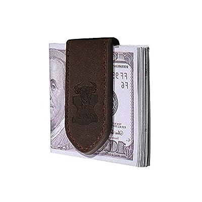 Money Clip Wallet Leather Slim Front Pocket Magnetic RFID Money Clip Wallet (Brown)