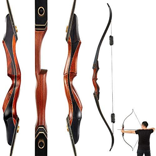 60 Zoll Traditioneller Recurve Bogen, 30-50 Pfund Abnehmbarer Geteilter Bogen FüR Das BogenschießEn Im Freien Sportwettkampf