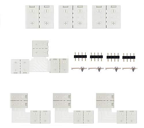 Striscia di prolunga LED ad angolo, con clip di fissaggio per strisce LED da 10 mm, 3 connettori, 2 connettori a forma di L, 1 connettore a forma di T, 4 strisce LED, 4 connettori a 4 poli