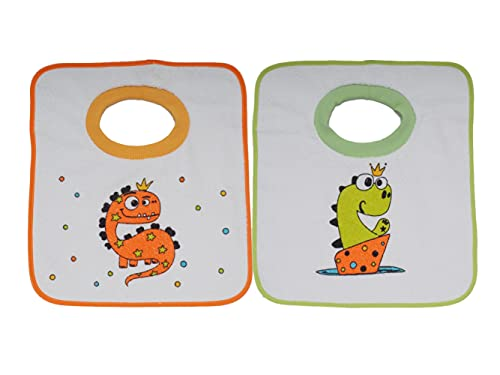 Ti TIN Pack 2 Baberos Estampados Impermeables para Bebés de Más de 1 año con Cuello de Goma Elástica | Babero con Toalla de Rizo Forrado con Plásticos
