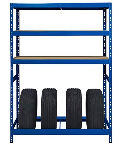 Lagerregal als Reifenregal | ✓ 130 cm breit | blau ✓ Werkstattregal Reifenständer Metallregal Garagenregal