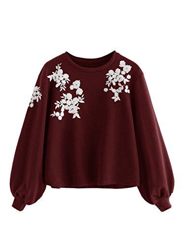 ROMWE Damen Pullover mit Blumen Stickerein Puffärmeln Langarm Shirt Sweatshirt Burgundy S