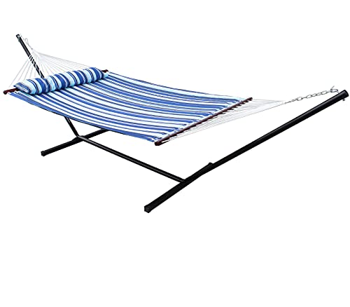 SUNNY GUARD 2 Person Double Hammock with 12.8 FT Hammock Stand & Pillow, Quilted Fabric,Wood Spreader Bars,Catalina Beach(450lb Capacity