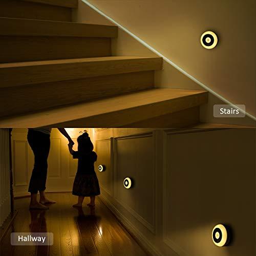 Gabinete y Ba/ño ELZO Luces LED Luz C/álida con Gancho Integral e Im/án para Armario Pasillo Luz de Noche Armario con Sensor Movimiento S/ótano Escalera Garaje Luz Nocturna Recargable Cocina