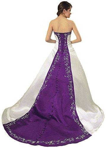Vantexi Damen Satin Stickerei Brautkleid Hochzeitskleider Elfenbein Lila Größe 44