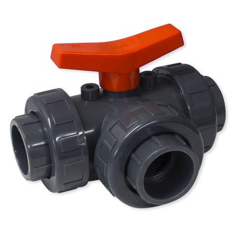 Robinet à boisseau sphérique 3 voies en PVC - Diamètre : 50 mm - Alésage en L.
