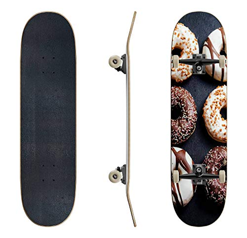 EFTOWEL Skateboards Tasty Colorful Donuts Donuts Stock Pictures Royalty Free Photos Classic Concave Skateboard Cool Stuff Teen Gifts Longboard Extreme Sports for Beginners and Professionals