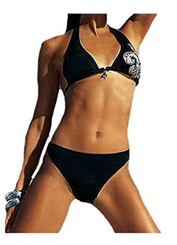 APART Triangel-Bikini Neckholder-Bikini schwarz-silber Gr. 34 B