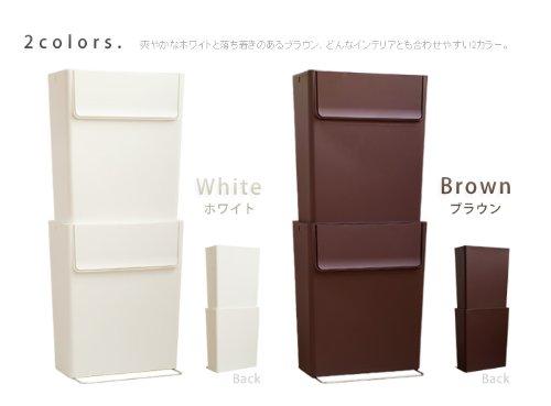 plywoodオリジナルスマートエコトラッシュカン[2個セット]分別シール付ごみ箱[ホワイト]