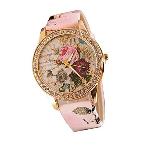 WFIT Mujeres Analógico De Cuarzo Relojes Casual Cristal Marco Clásico Relojes Piel Tipo Reloj - Rosa (incluida La Batería)