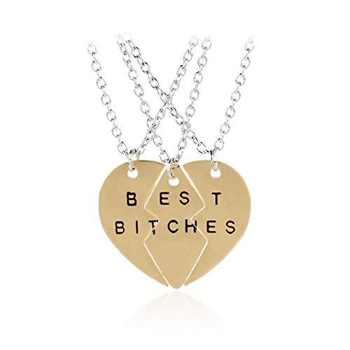 N-K PULABO - Collar con colgante de corazón dividido con texto en inglés 'Best Friends' (3 unidades), color dorado