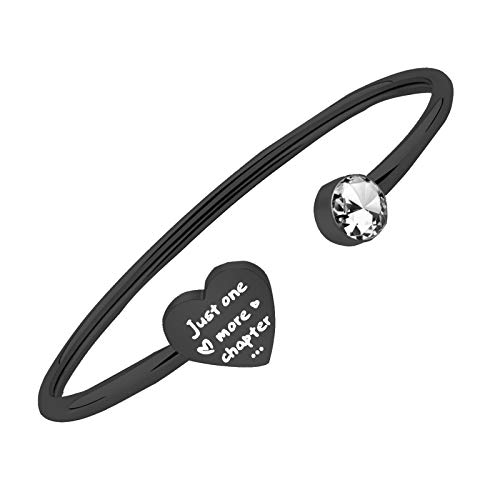 PLITI Bookworm Gift Just One More Chapter Open Cuff Bangle Book Lover Reader Librarian Teacher Jewelry Gift (Chapter Br black)