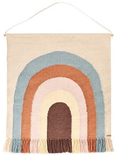 OyOy Mini Follow The Rainbow Rug - Kinderzimmer Babyzimmer Deko Wandteppich Regenbogen Motiv in Pastell Farben - 115 x 100 cm Baumwolle