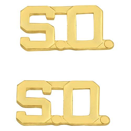 Smith & Warren 1/2' S.O. Letter Collar Brass Rank Insignia Gold Finish Sheriff Uniform Pin
