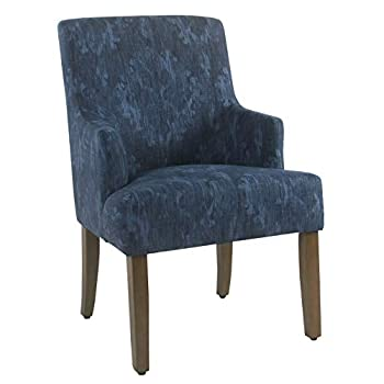 HomePop Meredith Dining Accent Chair Blue Demask
