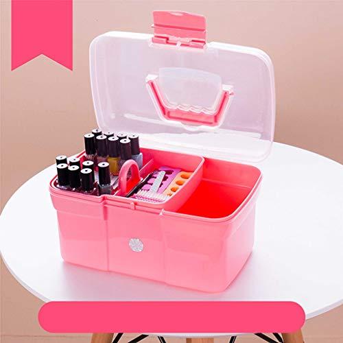 Draagbare manicure-gereedschapskist voor nagellak, drie verdiepingen, multifunctionele opbergkist om manicure te organiseren. roze