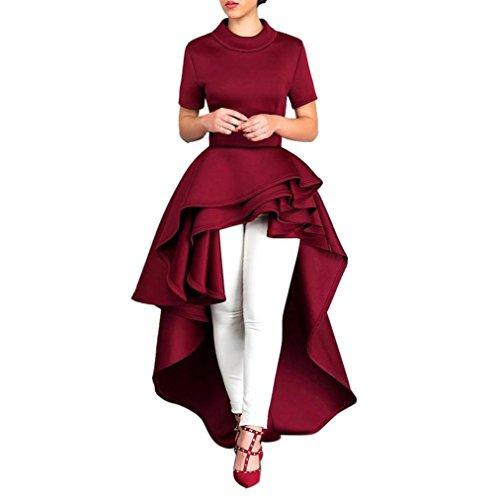 Yesmile Vestido de Mujer Falda Blanco Ropa Vestidos de Fiesta Elegante de Noche para Boda Fista Vestido Largo de Manga Corta para Mujer con Alto Peplum Vestido Informal para Mujer