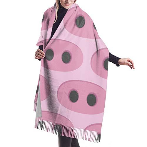 LarissaHi Schwein Nase Muster Schal Frauen weiche Schals stilvolle warme Decke Winter Schal 192 x 68 cm / 77 x 27 Zoll