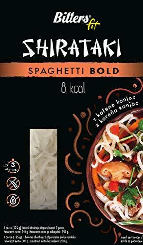BITTER Shirataki PASTA - grossi spaghetti, 4 x 390 grammi, shirataki konjac, senza glutine, 4 pack
