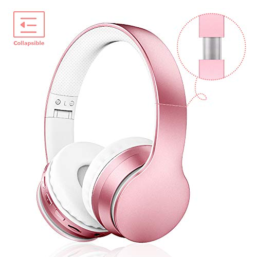 Lobkin Bluetooth Headphones Over Ear,Foldable Headphones with Soft Earmuffs,W/Built-in Mic and Wired Hedphones (Rose Gold)