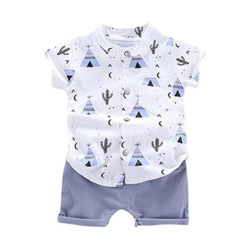 Conjunto de ropa y top para niños de verano de caballero trajes de manga corta + pantalones cortos 2 piezas de ropa de niños, azul, 24 meses
