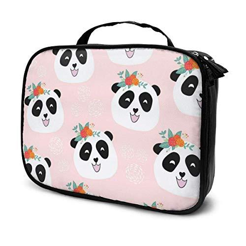 CheChenDengH Kosmetiktasche Panda Bear Cosmetic Bag Toiletry Bag, Artist Makeup Organizer Professional Portable Storage Bag Travel Train Case With Top Handle