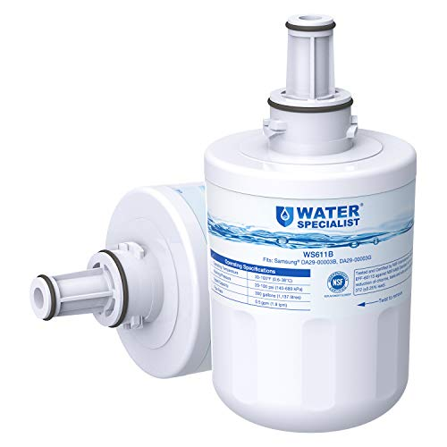 Waterspecialist DA29-00003G Refrigerator Water Filter, Replacement for Samsung DA29-00003B, RSG257AARS, RFG237AARS, DA29-00003F, HAFCU1, RFG297AARS, RS22HDHPNSR, WSS-1 (Pack of 2)